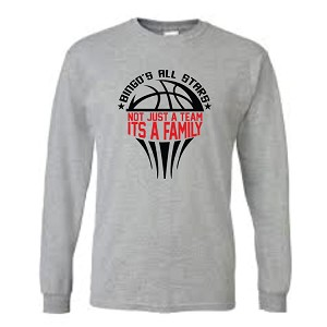 Grey Cotton Long Sleeve<br>Printed Front<br><b><i>LASTNAME Available</i></b>