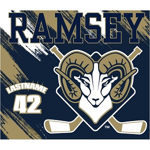 ONE TIME ORDER ITEM-Fully Sublimated  Plush Fleece Custom Blanket<br>Name & Number Available GREAT FOR AT HOME OR AT THE RINK
