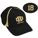Fitted Black and Vegas Gold Hat<br>Embroidered<br><b><i>PERSONALIZATION AVAILABLE</i></b>
