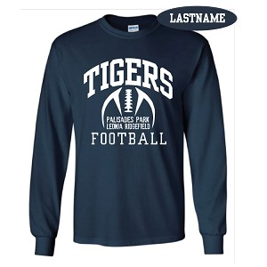 Navy Cotton Long Sleeve Tee Printed LASTNAME Optional