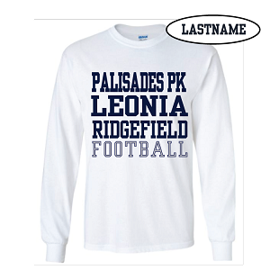 White Cotton Long Sleeve Tee Printed LASTNAME Optional