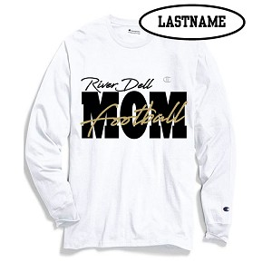 UPDATED!! Football MOM White Cotton Long Sleeve LASTNAME Optional