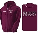 New Winter Item!!! Old School Full Zip Hoodie-Embroidered Front Chest Printed RAIDERS FOOTBALL Back  w/Printed Front LASTNAME Optional