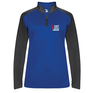 Ladies Only<br>CHEER<br>Blue Soft Knit<br>1/4 Zip Pullover<br>Embroidered