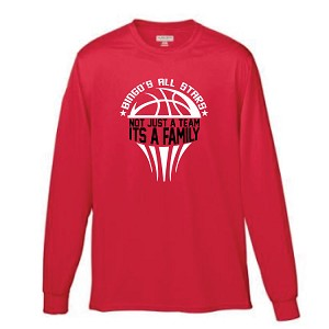 Red High Performance Long Sleeve<br>Printed Front<br><b><i>LASTNAME Available</i></b>