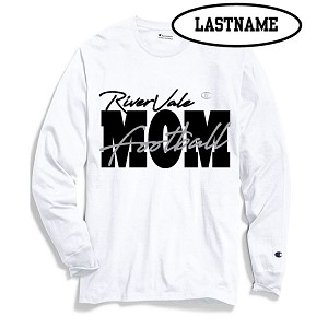 Updated Reduced Item!!!  RV Football MOM White Cotton Long Sleeve LASTNAME Optional