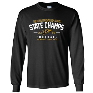 <b>State Champs Item!</b><br>Dry Blend Cotton Long Sleeve 2 Color Printed Front & Back<br><b>LASTNAME Optional</b>