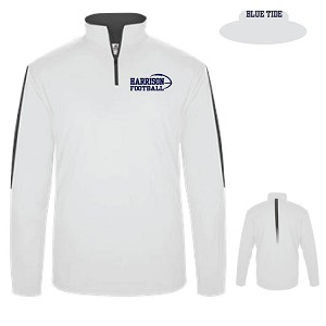 <b>BADGER</b><br>New! White Collection Sideline 1/4 Zip L/S Pullover<br>Embroidered Chest & Neck<br><b>Last Name Available</b>