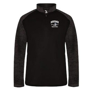 <b>MENS TRACK & FIELD</b><br>Mens Cut<br>Sport Tonal Blend 1/4 Zip<br>Embroidered Left Chest<br> BACK Printed & Embroidered<br><b>LASTNAME Optional</b>