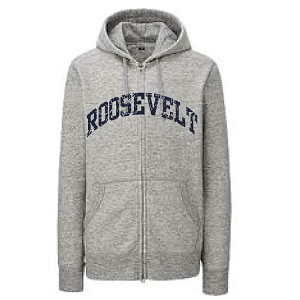 Heather Grey<br>FULL ZIP Hooded Sweatshirt SPLIT ROOSEVELT Faded Print<br><b>LASTNAME Available</b>