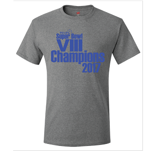 <b><i<>CHAMPIONS MERCHANDISE</b></i><br>Cotton T-Shirt<br><b><i<>LAST NAME Available</b></i>