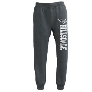Black Heather Jogger Sweats<br>Printed Leg