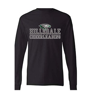 Black Cotton Long Sleeve<br>2 Color Printed Front<br><b><i>LASTNAME in Silver Glitter Optional</i></b>