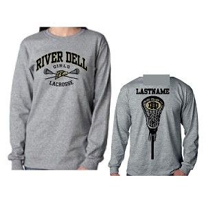 Athletic Grey Cotton Long Sleeve<br>2 Color Printed Front and Back<br><b><i>LASTNAME Available</i></b>
