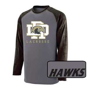 Augusta<br>Raglan Textured Long Sleeve<br>Printed Front<br>HAWKS on Back Tail<br><b><i>LASTNAME Available</i></b>