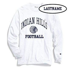 Champion White Long Sleeve Printed LASTNAME Optional