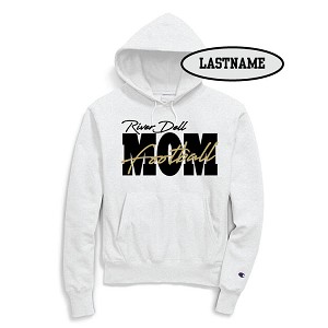 UPDATED!! Football MOM White Fleece Hoodie Printed LASTNAME Optional